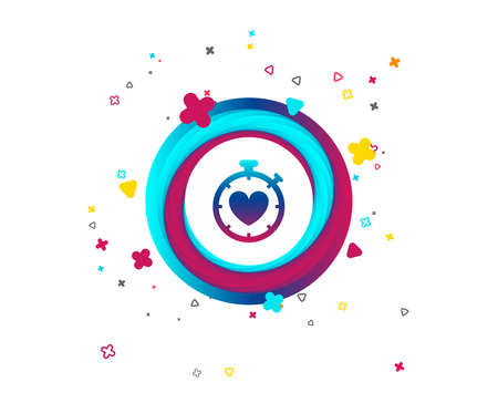 Heart Timer sign icon. Stopwatch symbol. Heartbeat palpitation. Colorful button with icon. Geometric elements. Vector