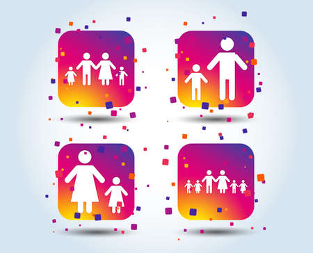 Large family with children icon. Parents and kids symbols. One-parent family signs. Mother and father divorce. Colour gradient square buttons. Flat design concept. Vector