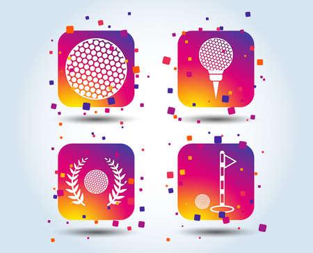 Golf ball icons. Laurel wreath winner award sign. Luxury sport symbol. Colour gradient square buttons. Flat design concept. Vector