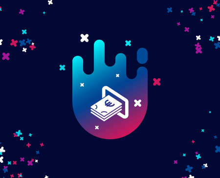 Cash money simple icon. Banking currency sign. Euro or EUR symbol. Cool banner with icon. Abstract shape with gradient. Vector