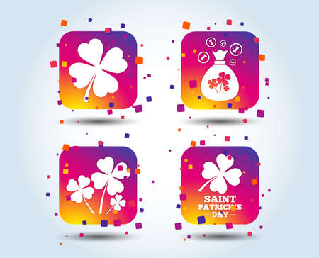 Saint Patrick day icons. Money bag with clovers and coins sign. Symbol of good luck. Colour gradient square buttons. Flat design concept. Vector