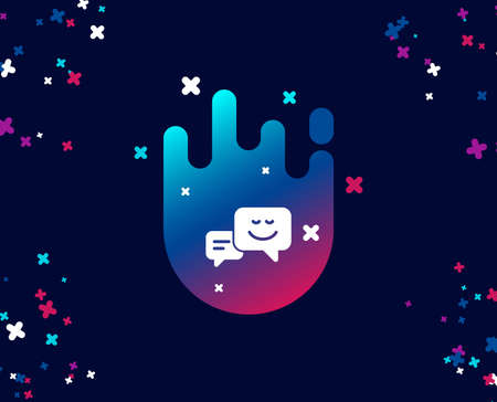 Message speech bubbles with Smile simple icon. Chat emotion sign. Cool banner with icon. Abstract shape with gradient. Vector Illustration