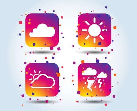 Weather icons. Cloud and sun signs. Storm or thunderstorm with lightning symbol. Gale hurricane. Colour gradient square buttons. Flat design concept. Vector 向量圖像