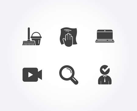 Set of Video camera, Research and Notebook icons. Bucket with mop, Washing cloth and Vacancy signs. Movie or cinema, Magnifying glass, Laptop computer. Vector