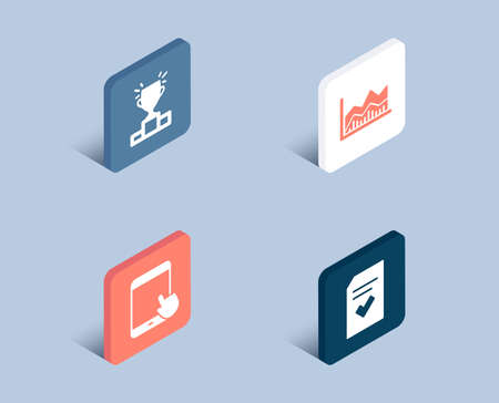 Set of Winner podium, Tablet pc and Trade infochart icons. Checked file sign. Competition results, Touchscreen gadget, Business analysis. Correct document.  3d isometric buttons. Flat design concept
