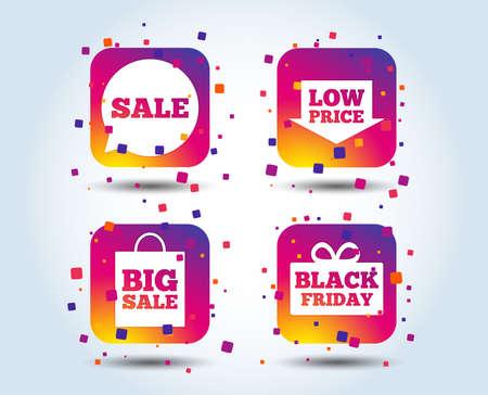 Sale speech bubble icon. Black friday gift box symbol. Big sale shopping bag. Low price arrow sign. Colour gradient square buttons. Flat design concept. Vector Illustration