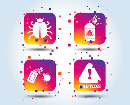 Bug disinfection icons. Caution attention symbol. Insect fumigation spray sign. Colour gradient square buttons. Flat design concept. Vector