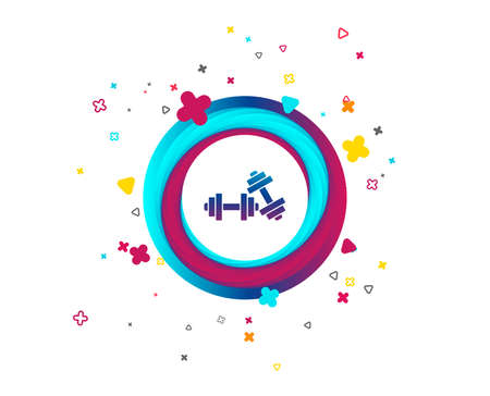 Dumbbells sign icon. Fitness sport symbol. Gym workout equipment. Colorful button with icon. Geometric elements. Vector Çizim