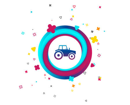 Tractor sign icon. Agricultural industry symbol. Colorful button with icon. Geometric elements. Vector