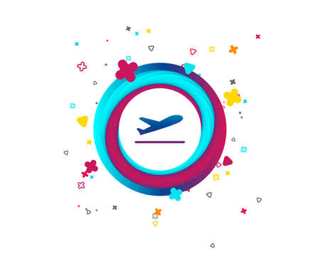 Plane takeoff icon. Airplane transport symbol. Colorful button with icon. Geometric elements. Vector Vetores