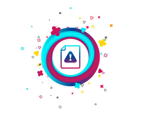 File attention sign icon. Exclamation mark. Hazard warning symbol. Colorful button with icon. Geometric elements. Vector Foto de archivo - 105825458