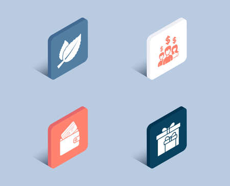 Set of Mint leaves, Salary employees and Debit card icons. Delivery boxes sign. Mentha herbal, People earnings, Wallet with credit card. Birthday gifts.  3d isometric buttons. Flat design concept Çizim
