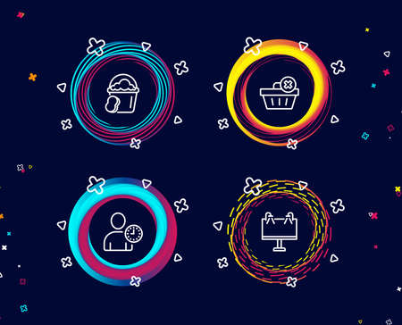 Set of Delete order, Time management and Sponge icons. Road banner sign. Clean basket, User with clock, Cleaner bucket. Advertisement.  Circle banners with line icons. Gradient colors shapes. Vector