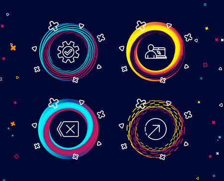 Set of Online education, Service and Remove icons. Direction sign. Internet lectures, Cogwheel gear, Delete button. Navigation pointer.  Circle banners with line icons. Gradient colors shapes. Vector Illustration