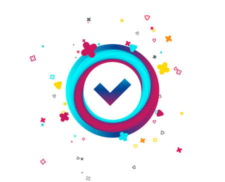 Check sign icon. Yes button. Colorful button with icon. Geometric elements. Vector