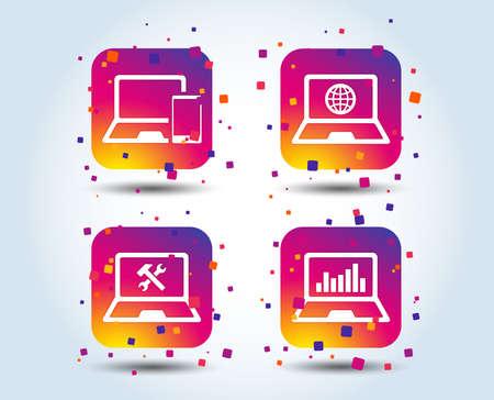 Notebook laptop pc icons. Internet globe sign. Repair fix service symbol. Monitoring graph chart. Colour gradient square buttons. Flat design concept. Vector Illustration