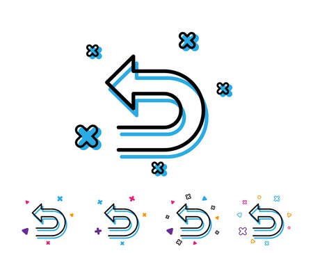 Undo arrow line icon. Left turn direction symbol. Navigation pointer sign. Line icon with geometric elements. Bright colourful design. Vector