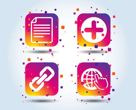 Plus add circle and hyperlink chain icons. Document file and globe with hand pointer sign symbols. Colour gradient square buttons. Flat design concept. Vector Illustration