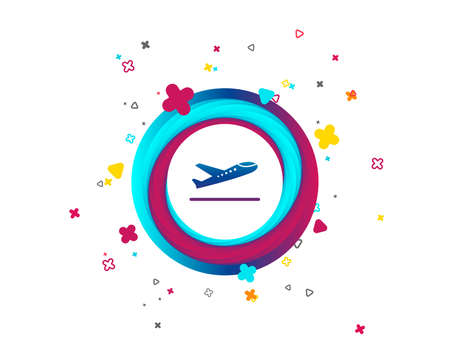 Plane takeoff icon. Airplane transport symbol. Colorful button with icon. Geometric elements. Vector