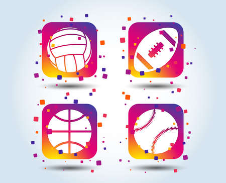 Sport balls icons. Volleyball, Basketball, Baseball and American football signs. Team sport games. Colour gradient square buttons. Flat design concept. Vector