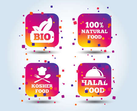 100% Natural Bio food icons. Halal and Kosher signs. Chief hat with fork and spoon symbol. Colour gradient square buttons. Flat design concept. Vector Illustration