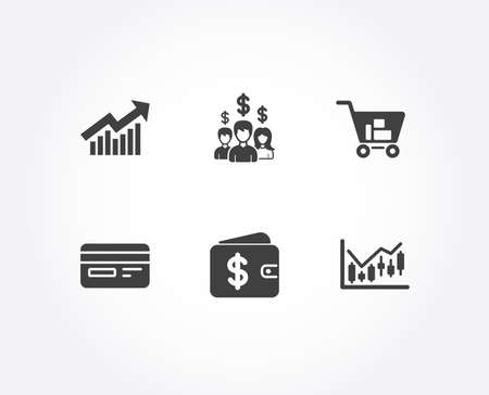 Set of Internet shopping, Demand curve and Credit card icons. Dollar wallet, Salary employees and Financial diagram signs. Cart with purchases, Statistical report, Card payment. Vector