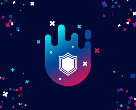 Shield simple icon. Protection or Security sign. Defence or Guard symbol. Cool banner with icon. Abstract shape with gradient. Vector 向量圖像