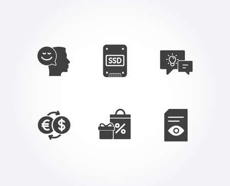 Set of Idea lamp, Ssd and Money exchange icons. Shopping, Good mood and View document signs. Business energy, Solid-state drive, Eur to usd. Gifts and sales, Positive thinking, Open file. Vector