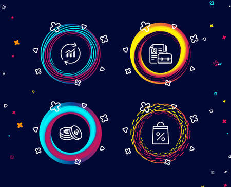 Set of Vacancy, Update data and Savings icons. Shopping bag sign. Hiring job, Sales statistics, Cash coins. Supermarket discounts.  Circle banners with line icons. Gradient colors shapes. Vector