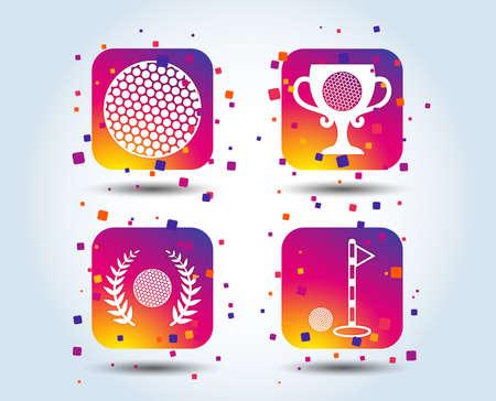 Golf ball icons. Laurel wreath winner award cup sign. Luxury sport symbol. Colour gradient square buttons. Flat design concept. Vector Иллюстрация