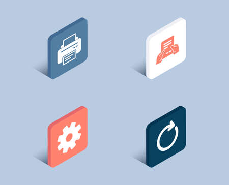 Set of Printer, Service and Receive file icons. Synchronize sign. Printing device, Cogwheel gear, Hold document. Refresh or update.  3d isometric buttons. Flat design concept. Vector