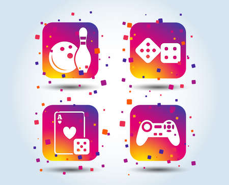 Bowling and Casino icons. Video game joystick and playing card with dice symbols. Entertainment signs. Colour gradient square buttons. Flat design concept. Vector