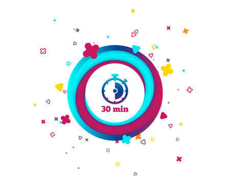 Timer sign icon. 30 minutes stopwatch symbol. Colorful button with icon. Geometric elements. Vector