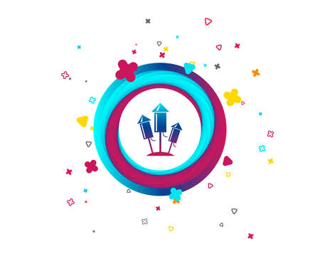 Fireworks rockets sign icon. Explosive pyrotechnic device symbol. Colorful button with icon. Geometric elements. Vector