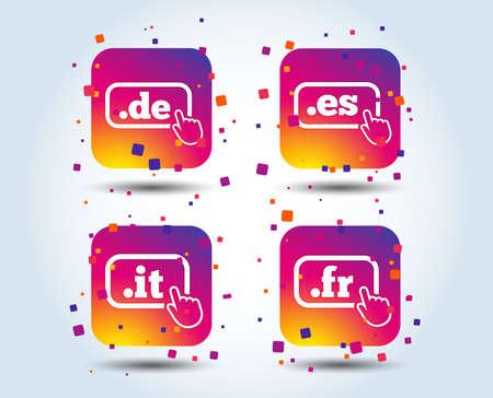 Icônes de domaine Internet de premier niveau. Symboles De, It, Es et Fr avec pointeur à main. Noms DNS nationaux uniques. Boutons carrés de dégradé de couleur. Concept de design plat. Vecteur Vecteurs