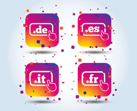Top-level internet domain icons. De, It, Es and Fr symbols with hand pointer. Unique national DNS names. Colour gradient square buttons. Flat design concept. Vector Illustration