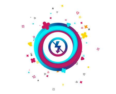 Ningún icono de señal de flash de foto. Símbolo de un rayo. Botón colorido con icono. Elementos geométricos. Vector