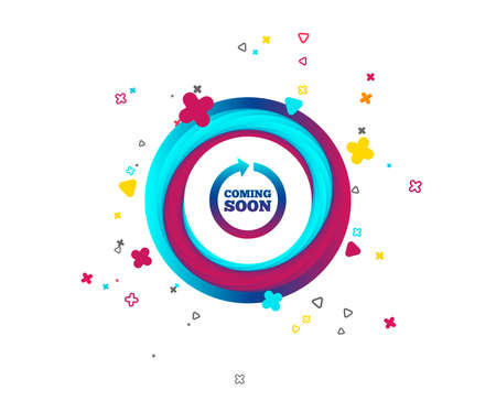 Coming soon sign icon. Promotion announcement symbol. Colorful button with icon. Geometric elements. Vector