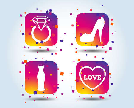 Wedding slim dress icon. Womens shoe and love heart symbols. Wedding or engagement day ring with diamond sign. Colour gradient square buttons. Flat design concept. Vector
