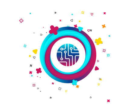 Circuit board sign icon. Technology scheme circle symbol. Colorful button with icon. Geometric elements. Vector