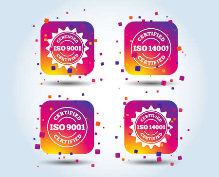ISO 9001 and 14001 certified icons. Certification star stamps symbols. Quality standard signs. Colour gradient square buttons. Flat design concept. Vector 일러스트