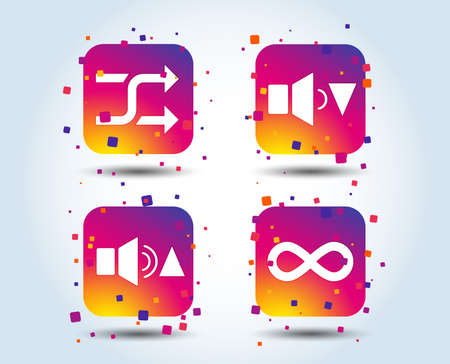 Player control icons. Sound louder and quieter signs. Dynamic symbol. Shuffle random and repeat loop. Colour gradient square buttons. Flat design concept. Vector