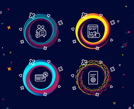 Set of Cashback, Internet report and Communication icons. File settings sign. Non-cash payment, Web tutorial, Business messages. File management.  Circle banners with line icons. Vector Illustration