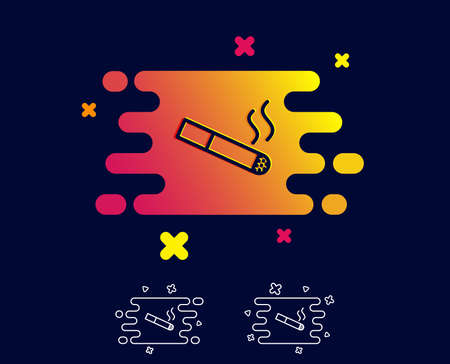 Smoking area line icon. Cigarette sign. Smokers zone symbol. Gradient banner with line icon. Abstract shape. Vector