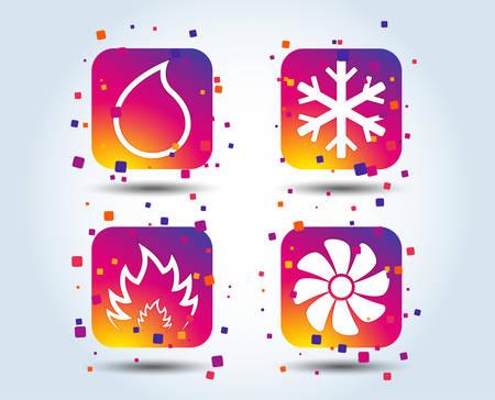 HVAC icons. Heating, ventilating and air conditioning symbols. Water supply. Climate control technology signs. Colour gradient square buttons. Flat design concept. Vector Stock Illustratie