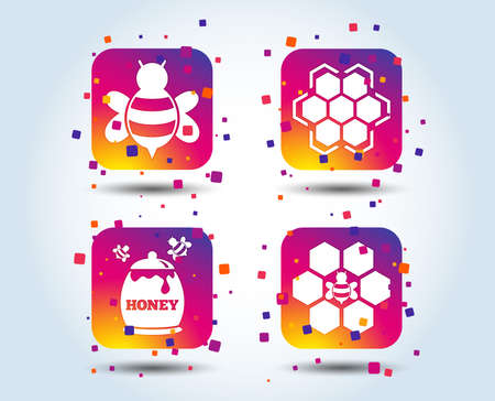 Honey icon. Honeycomb cells with bees symbol. Sweet natural food signs. Colour gradient square buttons. Flat design concept. Vector Ilustração