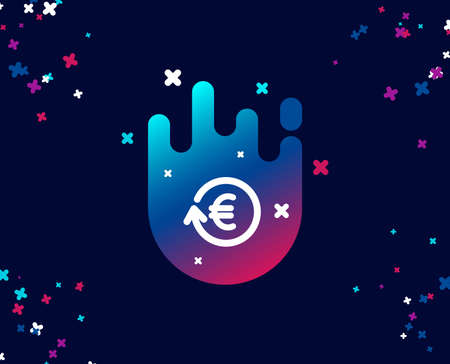 Euro Money exchange simple icon. Banking currency sign. EUR Cash symbol. Cool banner with icon. Abstract shape with gradient. Vector Illustration