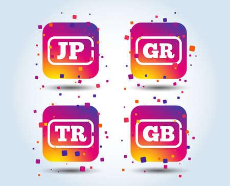 Language icons. JP, TR, GR and GB translation symbols. Japan, Turkey, Greece and England languages. Colour gradient square buttons. Flat design concept. Vector Banque d'images - 106409895