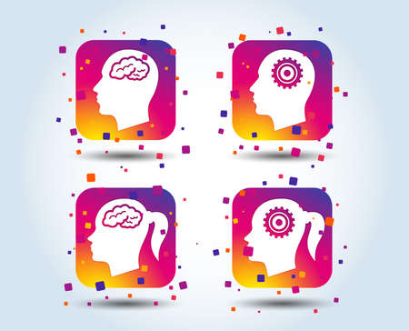 Head with brain icon. Male and female human think symbols. Cogwheel gears signs. Woman with pigtail. Colour gradient square buttons. Flat design concept. Vector Иллюстрация