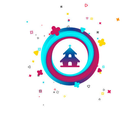 Church icon. Christian religion symbol. Chapel with cross on roof. Colorful button with icon. Geometric elements. Vector